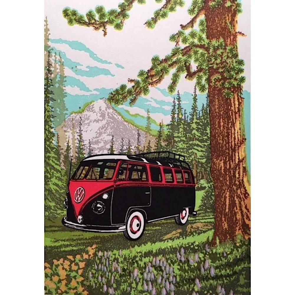 Old School Stationers Card - VW Van In Meadow