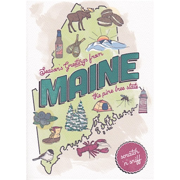 Three Little Words Maine Scratch 'n Sniff Holiday Card