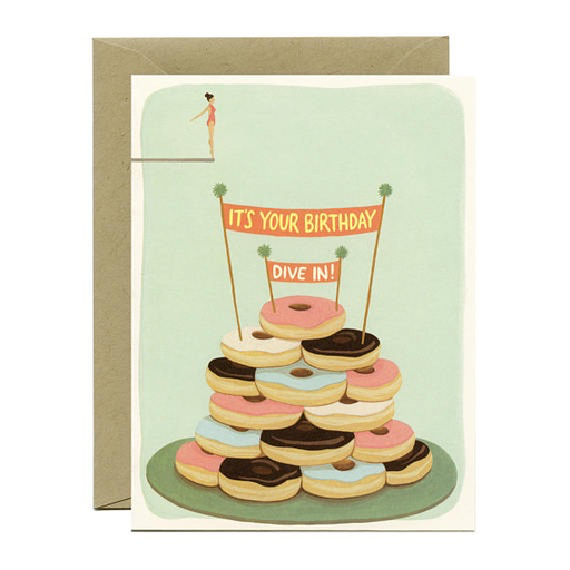 Yeppie Paper Donut Diver Birthday Card