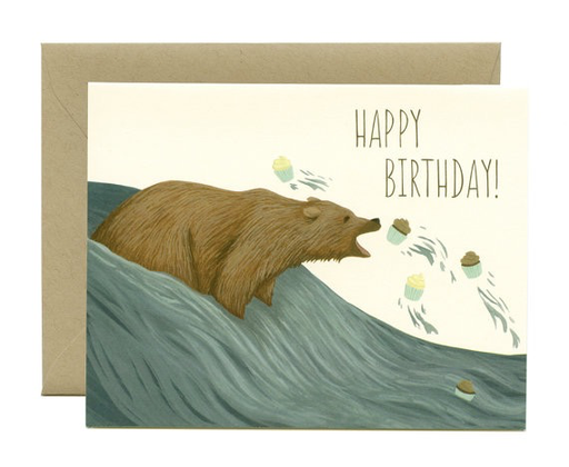 Yeppie Paper Grizzly Bear Cupcakes Birthday Card