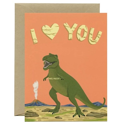 Yeppie Paper T-Rex Dinosaur I Love You This Much Card