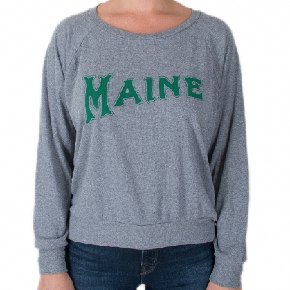 Milo In Maine Women's Long Sleeve Raglan Pullover - Green Maine