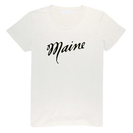 Milo in Maine Milo In Maine Womens Tee Shirt - Maine Script Navy on White