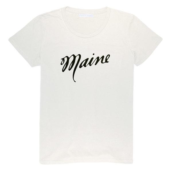 Milo in Maine Milo In Maine Womens Tee Shirt - Maine Script Navy on White
