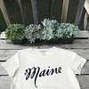 Milo In Maine Womens Tee Shirt - Maine Script Navy on White