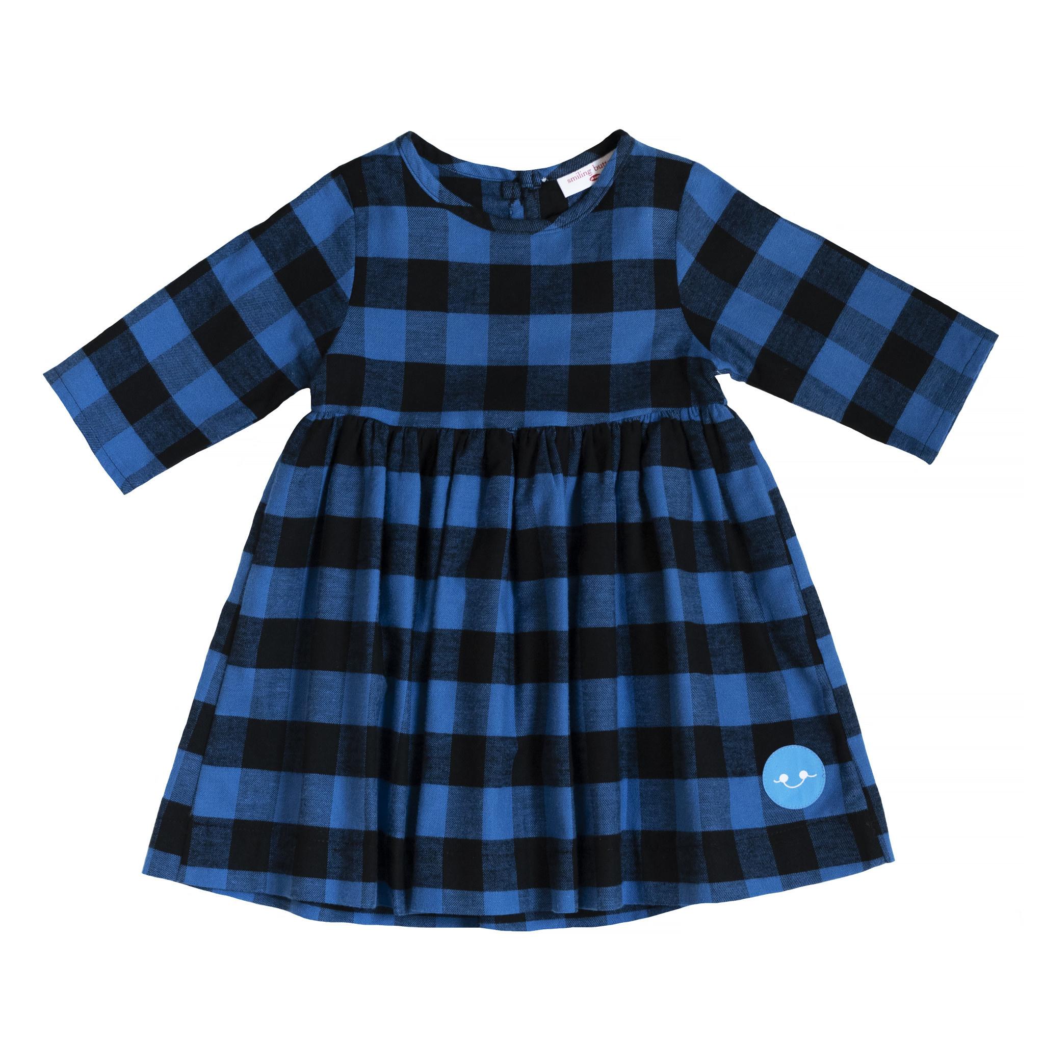 Smiling Button Winnie Dress - Blue/Black Flannel Buffalo Check