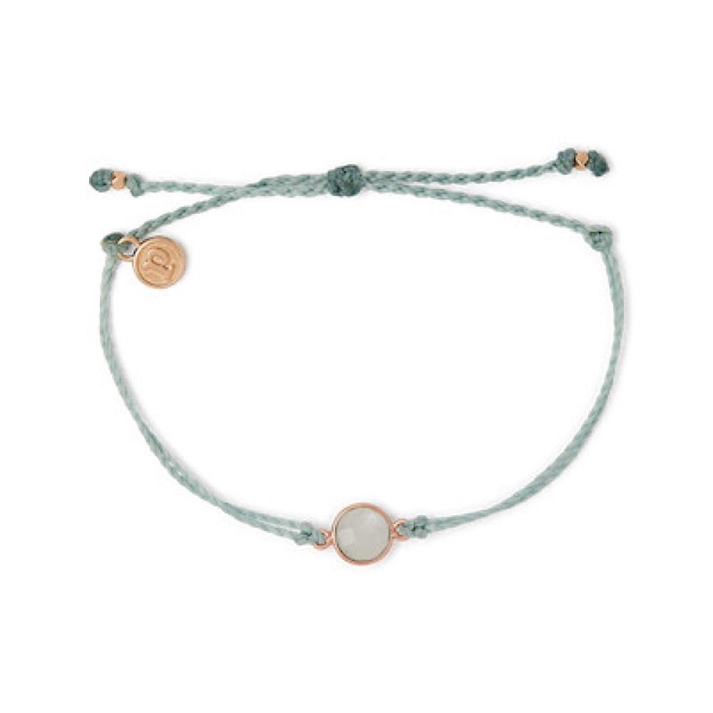 Pura Vida Pura Vida Charm Bracelet Moonstone - Smoke Blue/Rose Gold