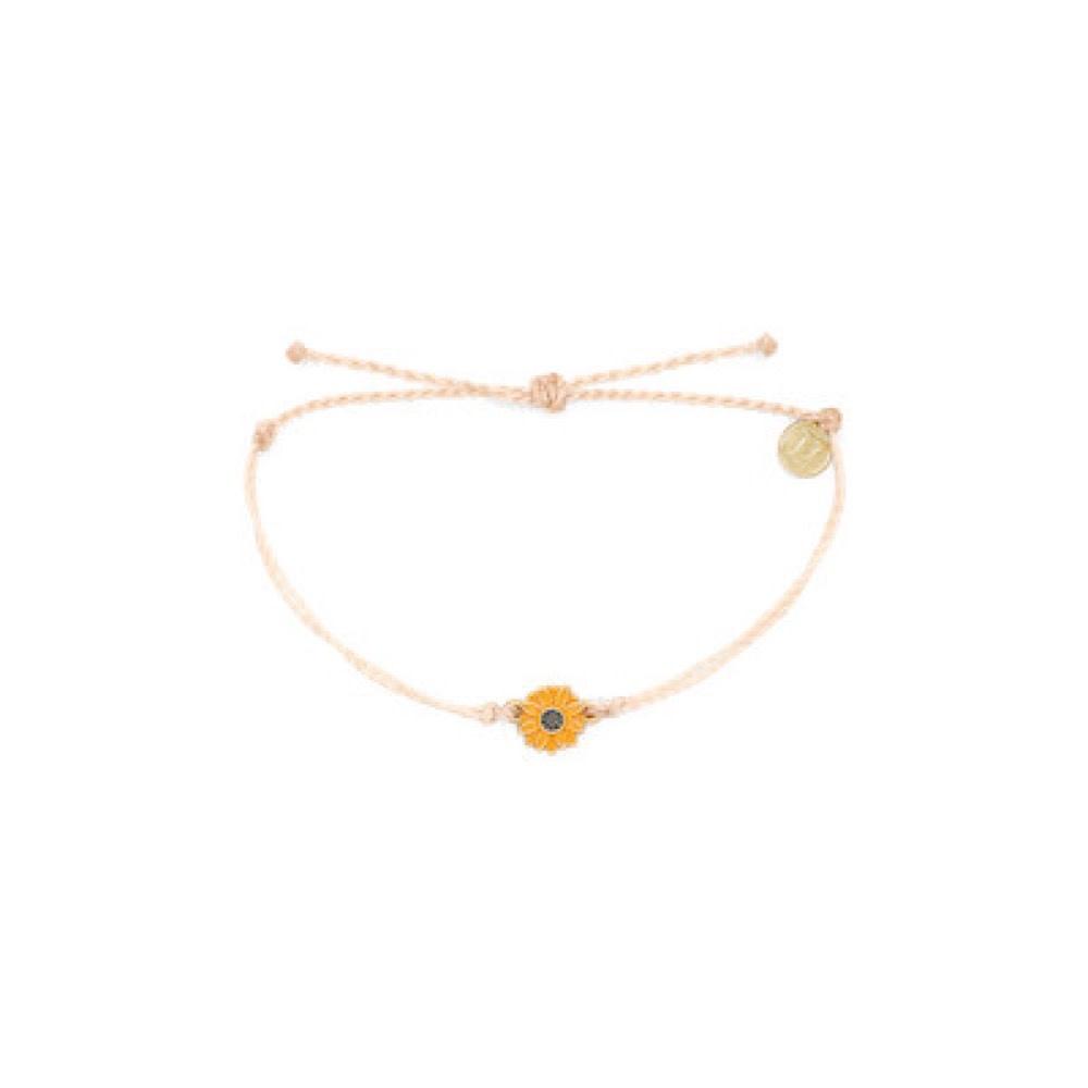 Pura Vida Bracelet - Gold Enamel Sunflower - Vanilla