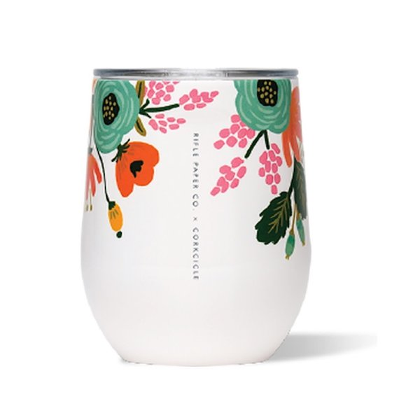 Corkcicle Corkcicle + Rifle Paper Stemless 12oz - Gloss Cream Lively Floral