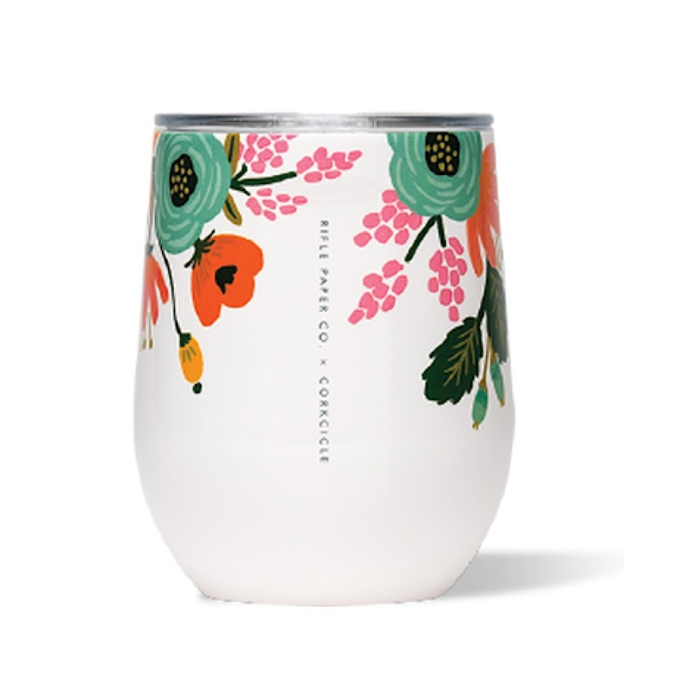 Corkcicle + Rifle Paper Stemless 12oz - Gloss Cream Lively Floral