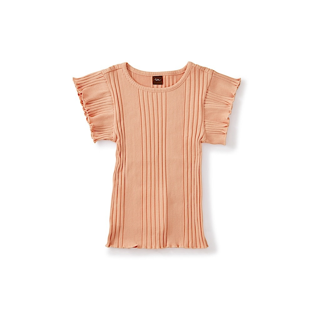 Tea Collection Variegated Rib Flutter Top - Dusty Coral