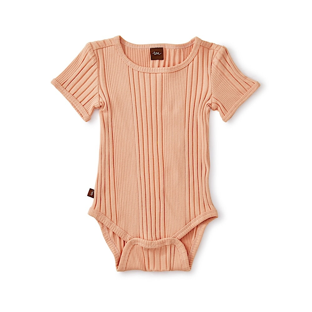 Tea Collection Tea Collection Variegated Rib Bodysuit - Dusty Coral