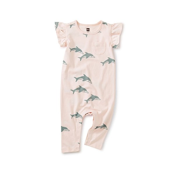 Tea Collection Tea Collection Ruffle Sleeve Pocket Romper - Dolphins
