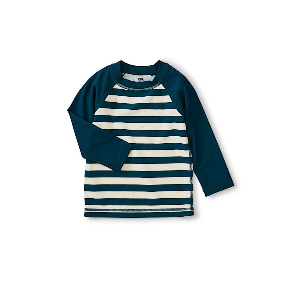 Tea Collection Colorblock Long Sleeve Rash Guard - Stripe Tidal