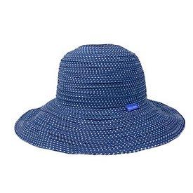 Wallaroo Hat Company Petite Scrunchie Hat - Slate Blue with White Dots