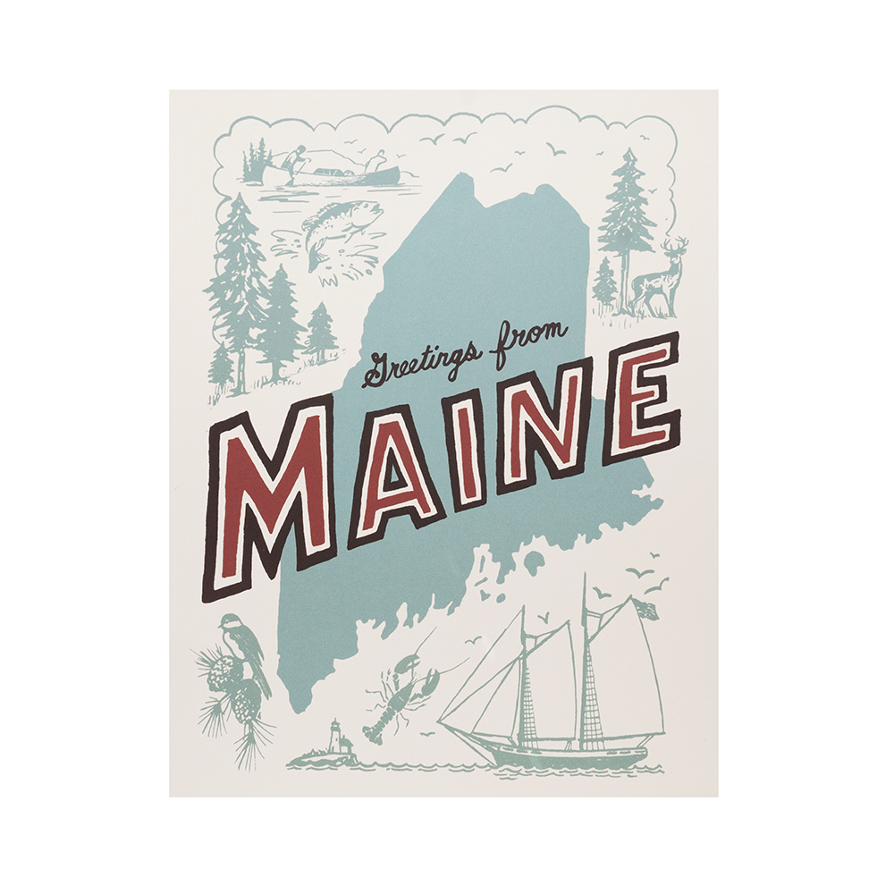 Daytrip Society Retro Maine Print - 11 X 14 Inches