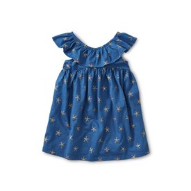 Tea Collection Ruffle Neck Dress - Sparkle Stars