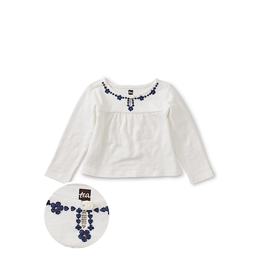 Tea Collection Tea Collection Embroidered Necklace Baby Top - Chalk