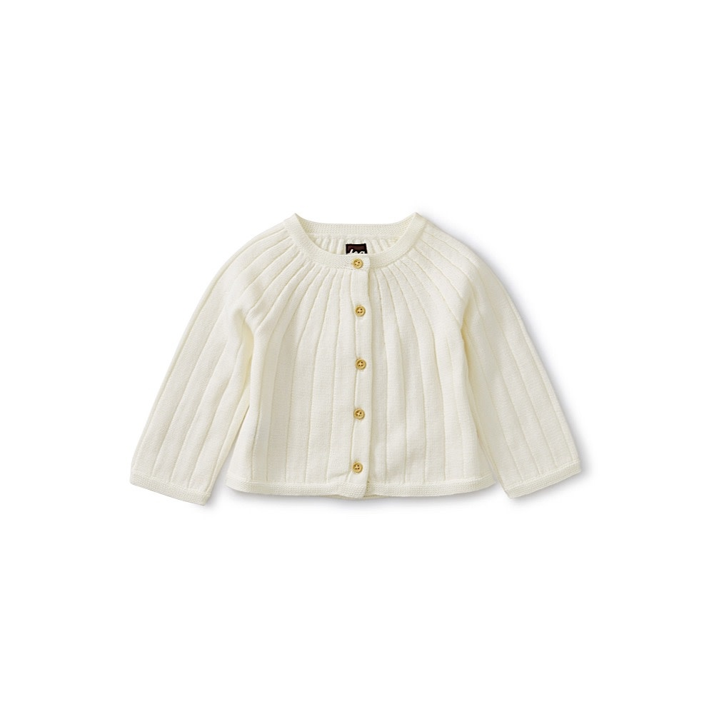 Tea Collection Ribbed Baby Cardigan - Chalk