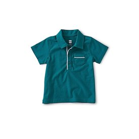 Tea Collection Piped Baby Polo - Scuba