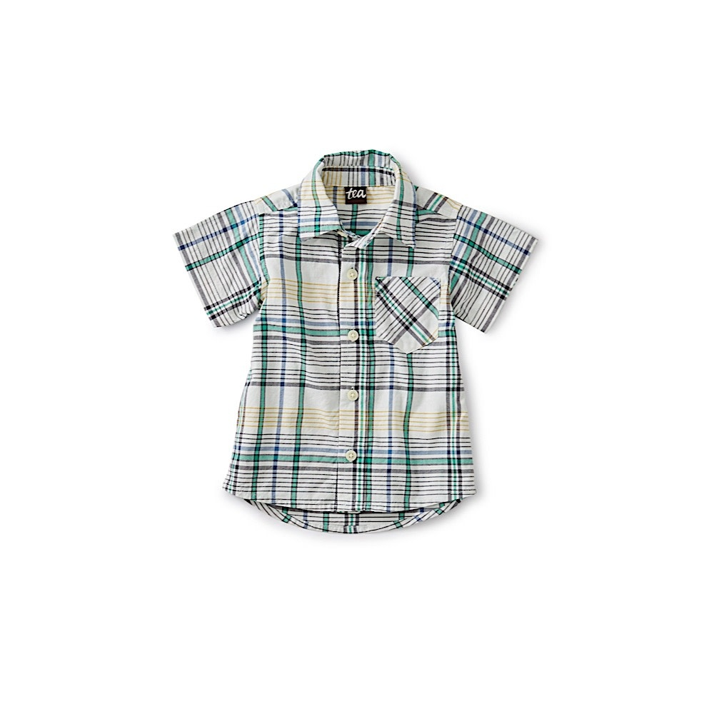 Tea Collection - Madras Woven Baby Shirt - Spetses Plaid