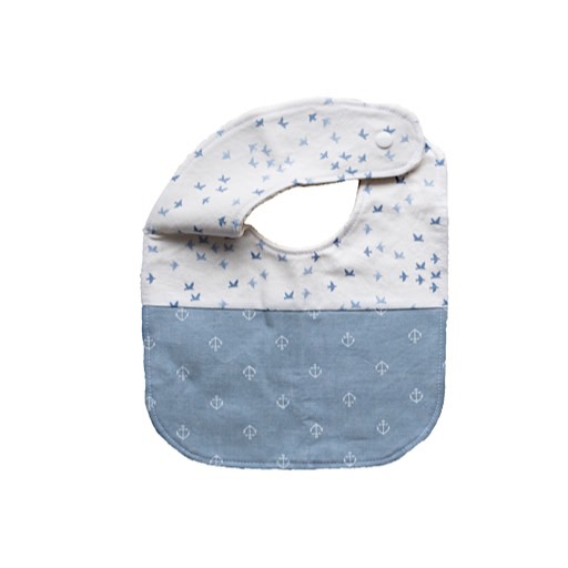 Two Little Beans Baby Bib Chambray Anchor Onesize