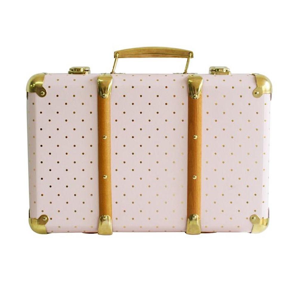 Alimrose Vintage Style Carry Case - Pink Gold Spot