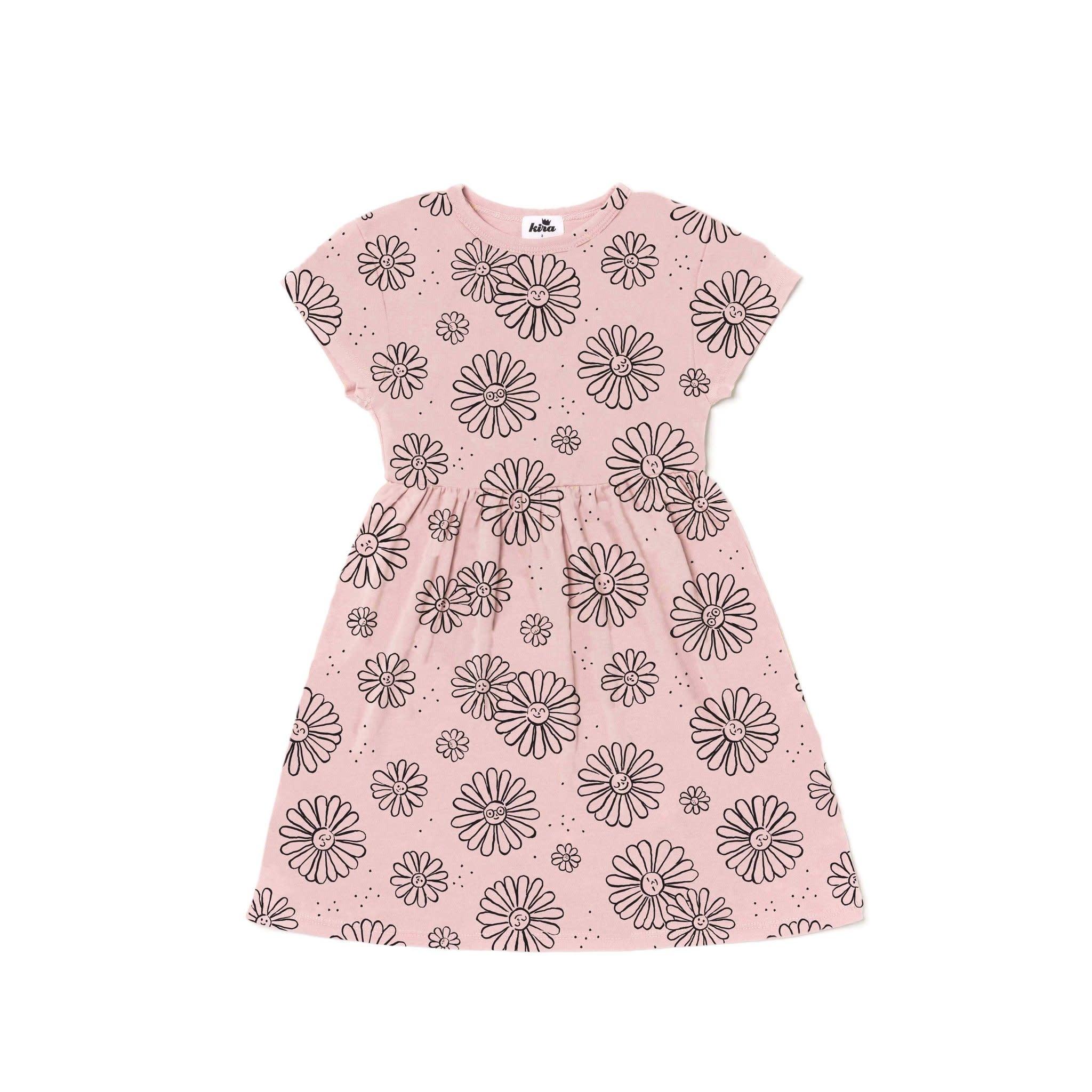 Kira - Daisies Print Baby Doll Dress - Blush