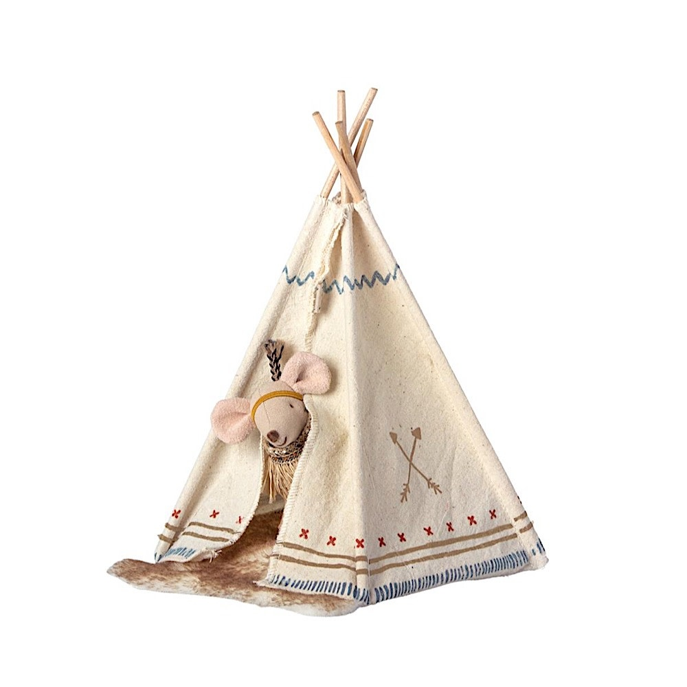 Maileg Mouse - Little Sister Feather Mouse with Teepee