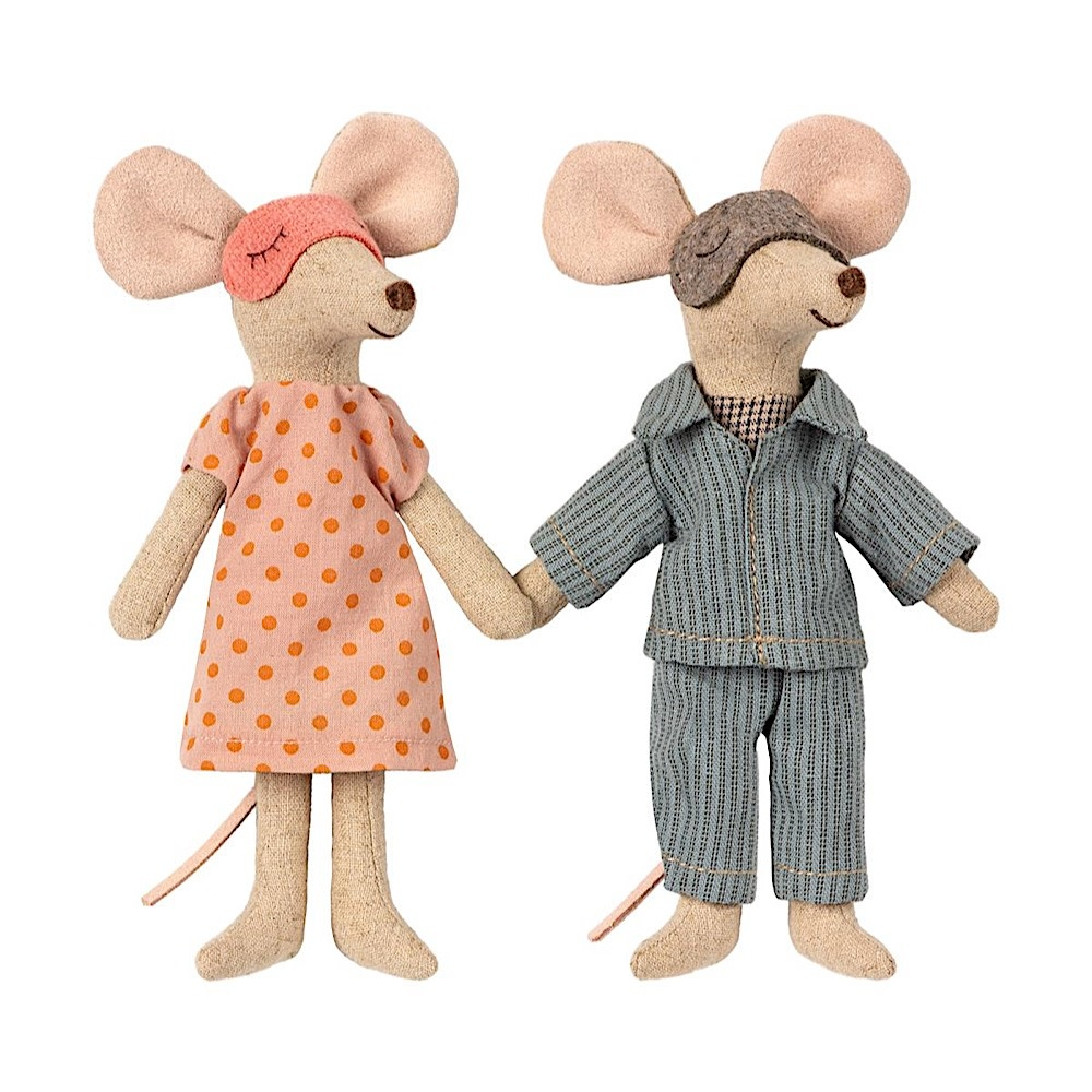Maileg Maileg Mouse - Mom & Dad in Cigarbox - Pajamas