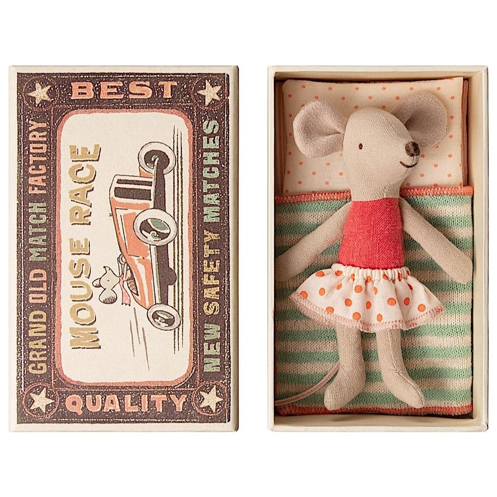 Maileg Mouse - Little Sister In Box - Orange Polka Dot
