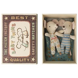 Maileg Maileg Mouse - Baby Twins in Box - Teal Flower