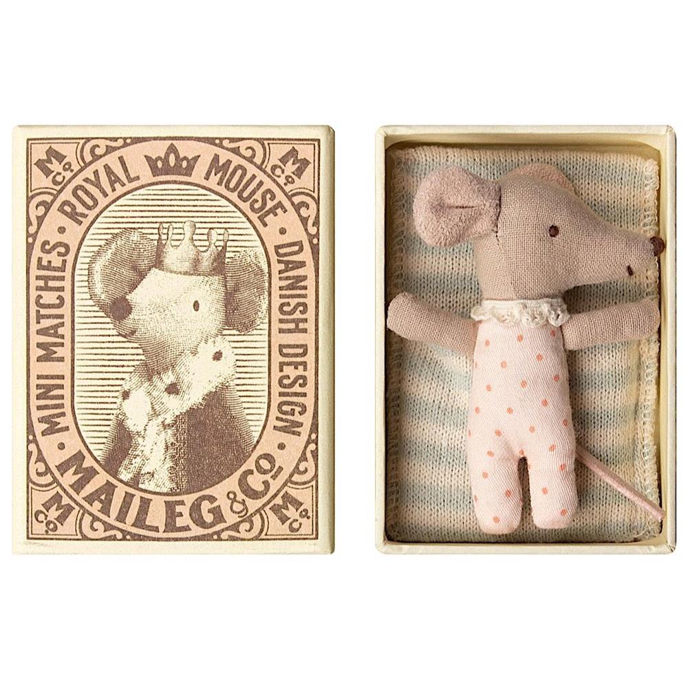 Maileg Maileg Mouse - Baby Girl in Box - Sleepy Wakey - Polka Dot
