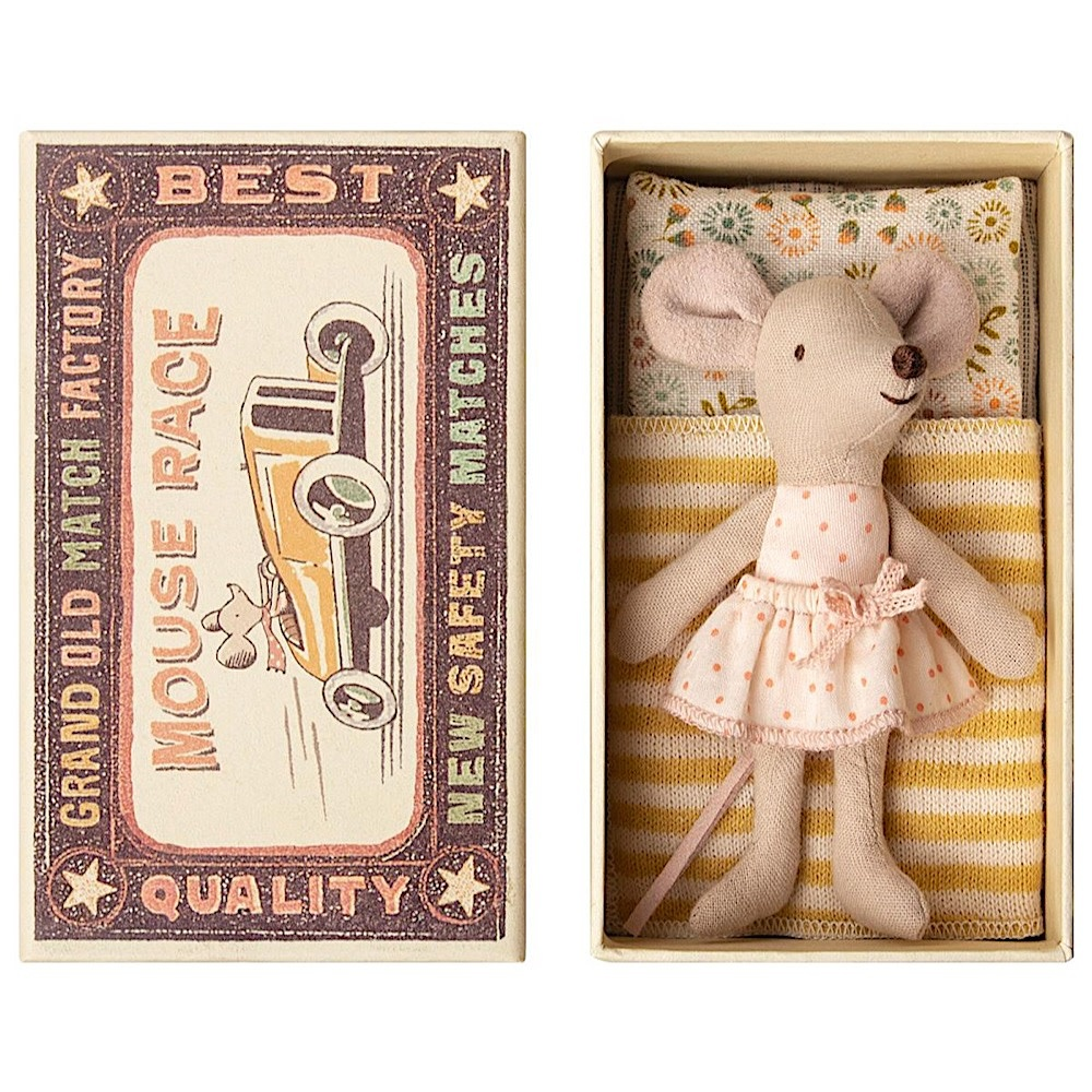 Maileg Maileg Mouse - Little Sister In Box - Pink Polka Dot