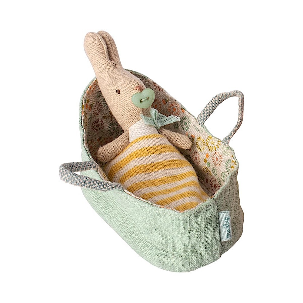 Maileg Maileg My Rabbit in Mint Carry Cot