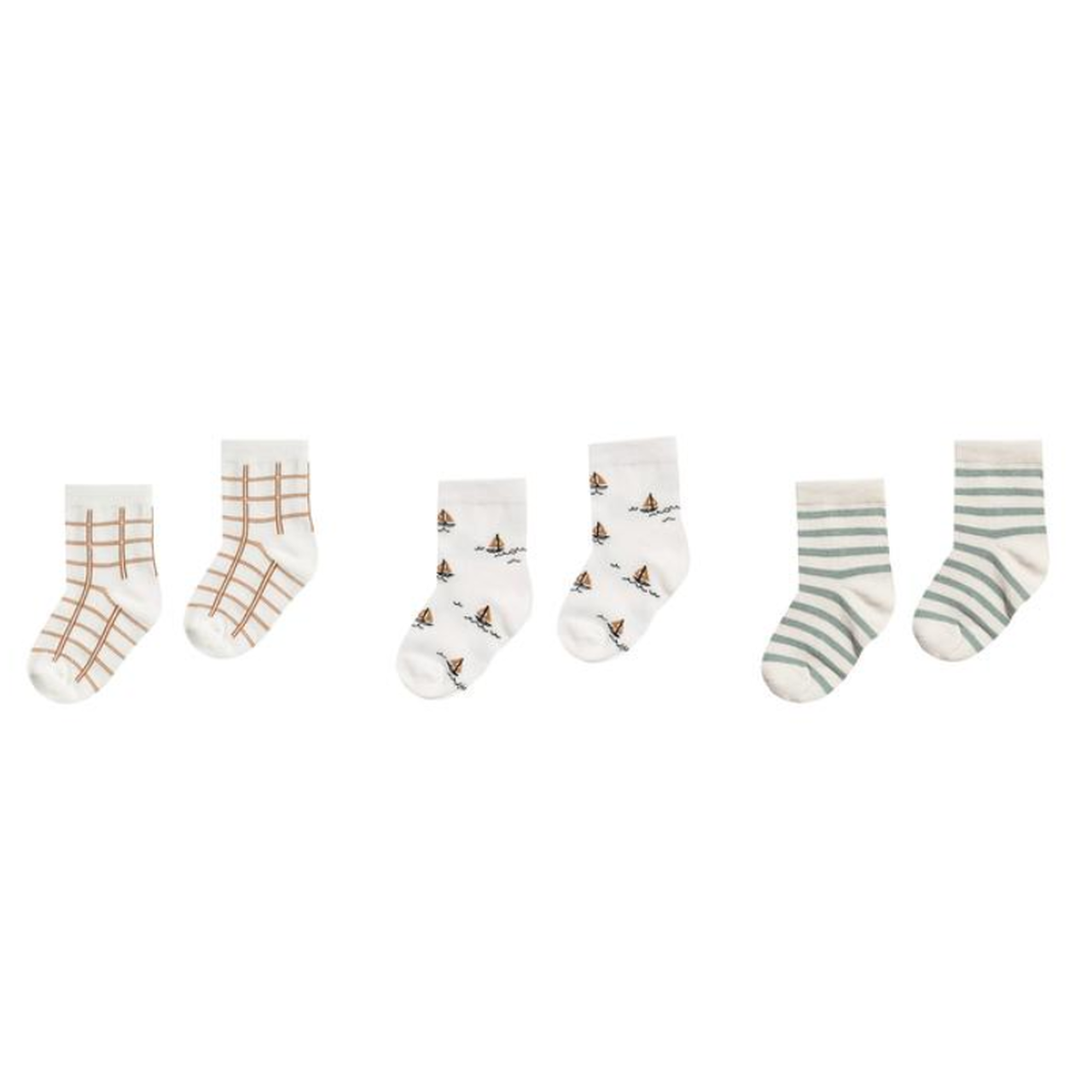 Rylee + Cru Ankle Sock Set - Bronze Grid/Sailboat/Sea Stripe