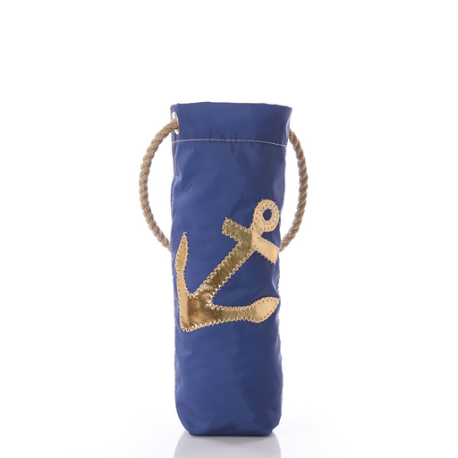 Sea Bags Wine Carrier Gold Anchor on Navy Onesize