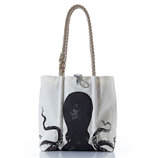Sea Bags Species Tote - Black Octopus - Hemp Handles - Small