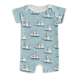 Winter Water Factory Winter Water Factory Summer Romper - Vintage Sailboats Ocean Blue & Teal