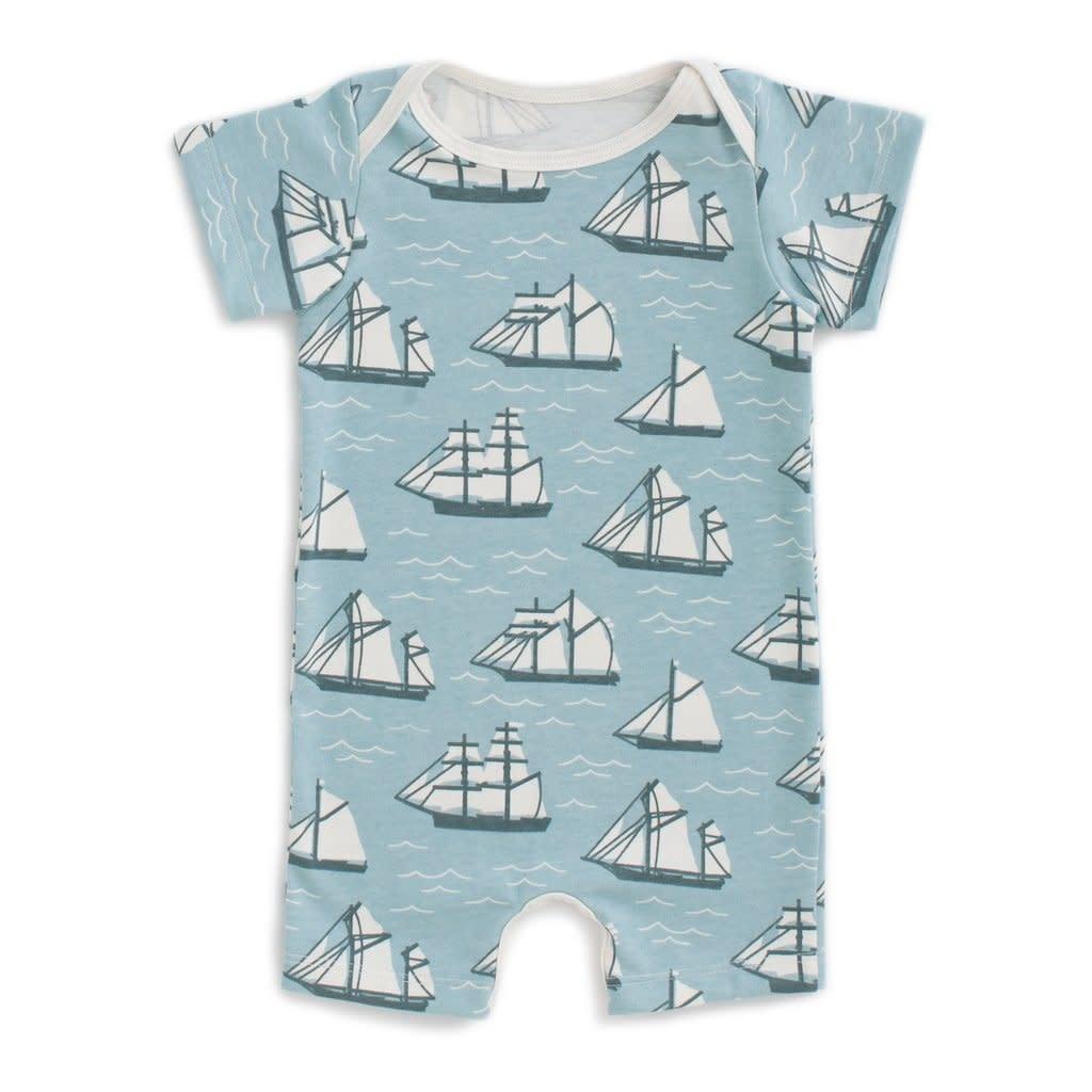 Winter Water Factory Summer Romper - Vintage Sailboats Ocean Blue & Teal