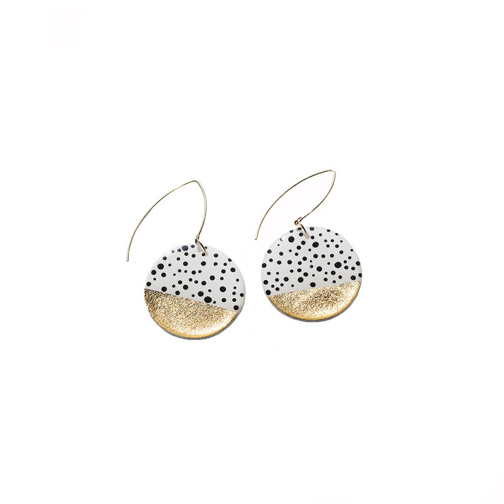 Clay N Wire Statement Earrings - Polka Dot Circle
