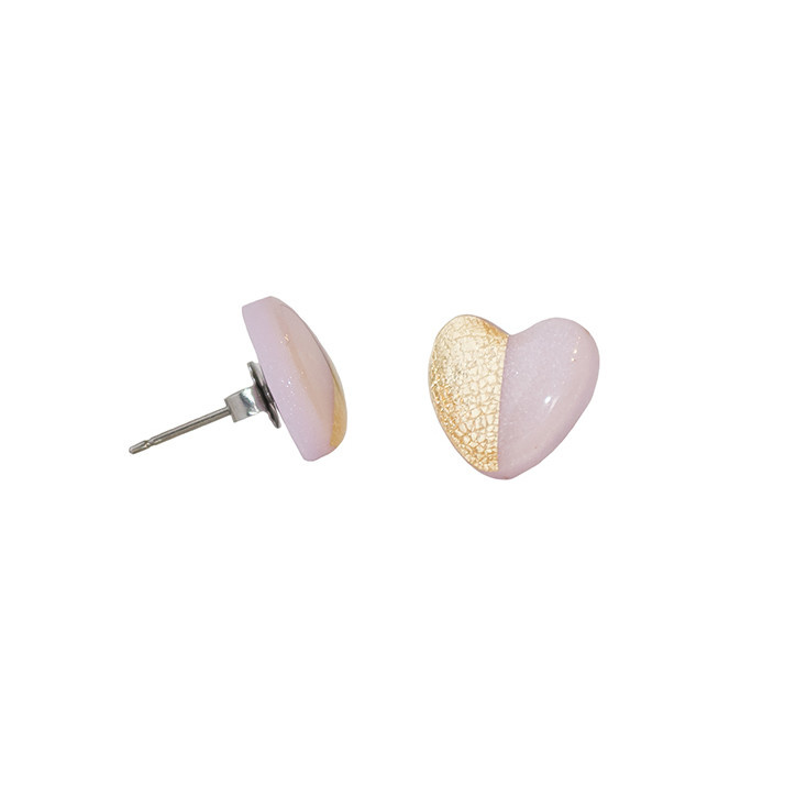 Clay N Wire Stud Earrings - Rose Quartz and Gold Heart