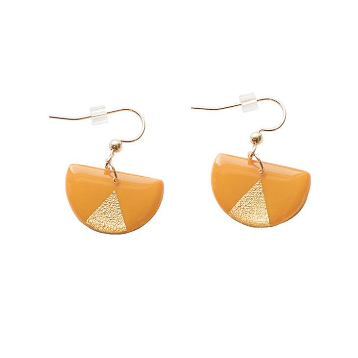 Clay N Wire Statement Earrings - Mustard Half Circle