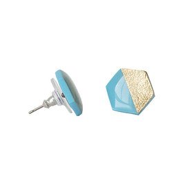 Clay N Wire Clay N Wire Stud Earrings - Turquoise and Gold Hexagon