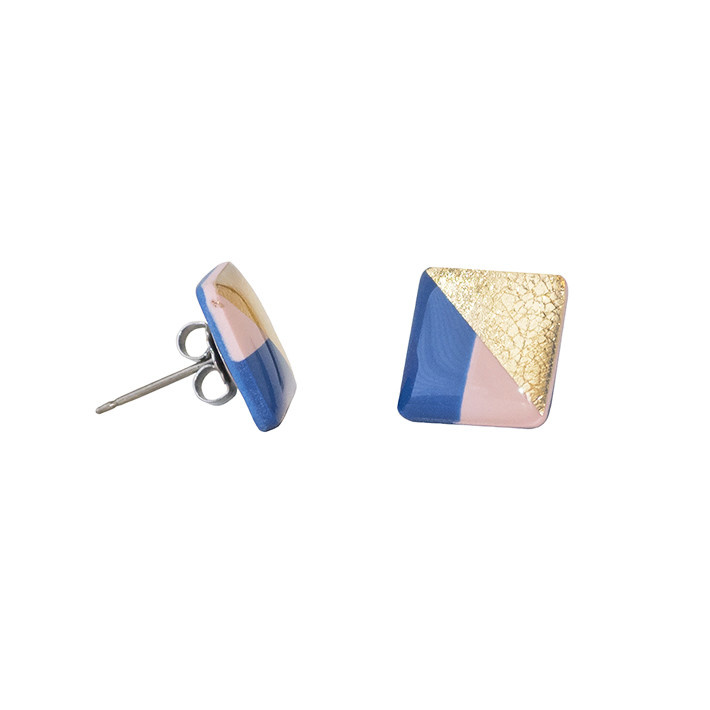 Clay N Wire Stud Earrings - Navy and Blush Square