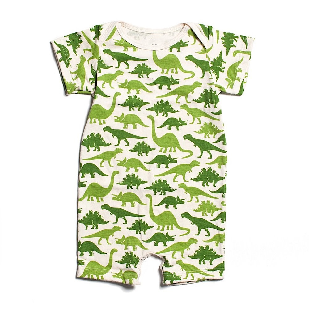 Winter Water Factory Summer Romper - Dinosaurs Green