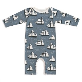 Winter Water Factory Winter Water Factory Long Sleeve Romper - Vintage Sailboats Slate Blue & Black