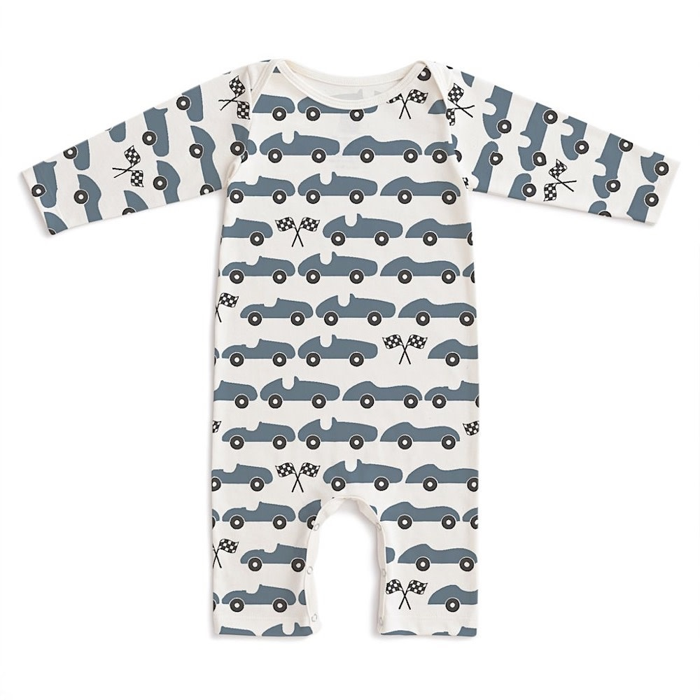 Winter Water Factory Long Sleeve Romper - Race Cars Slate Blue