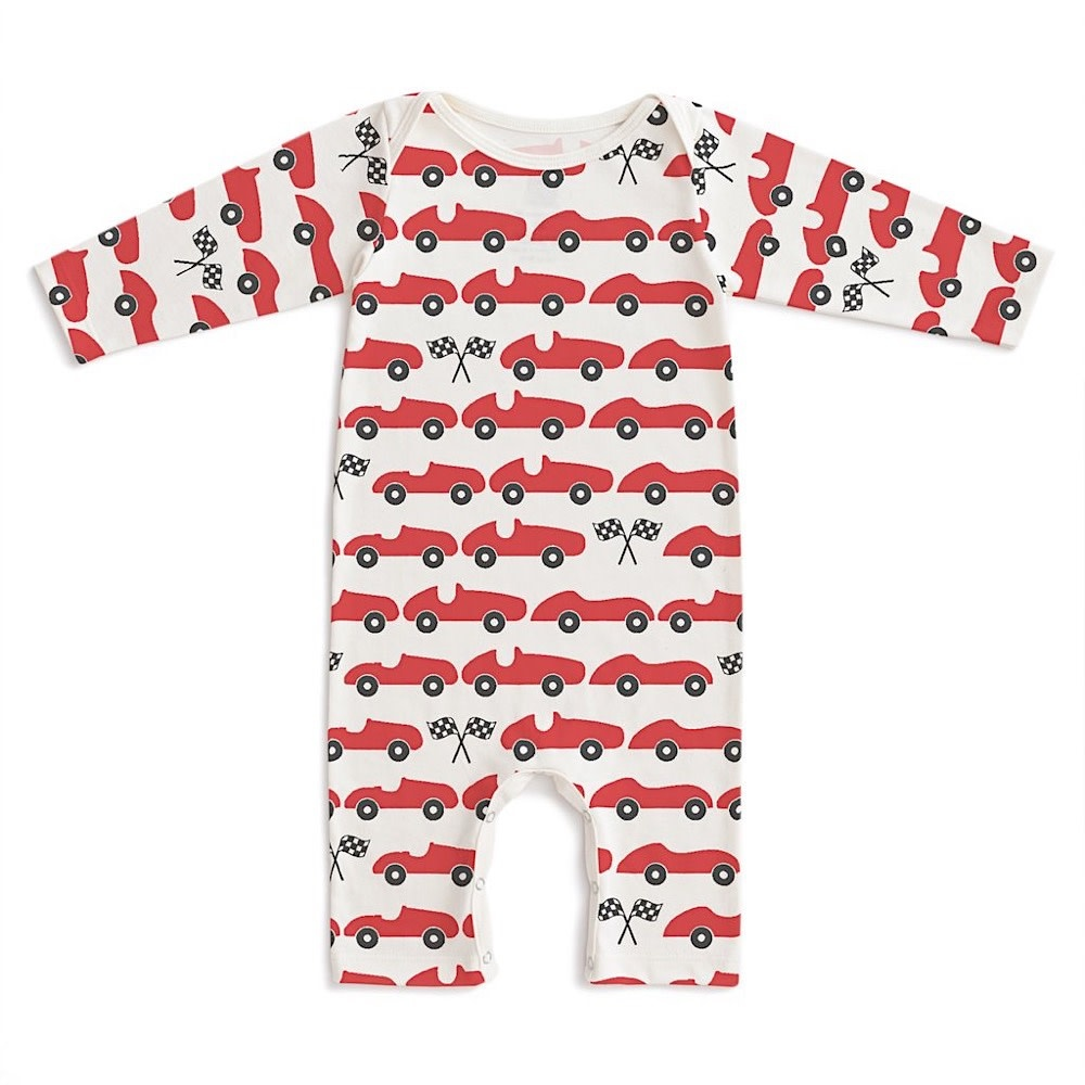 Winter Water Factory Long Sleeve Romper - Race Cars Red