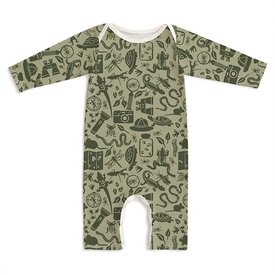 Winter Water Factory Winter Water Factory Long Sleeve Romper - Nature Explorer Sage & Forest Green